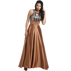Maxi dress with paillettes and opening in the bust