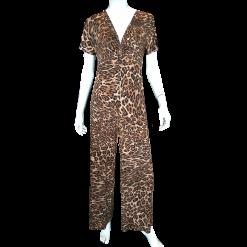 Ολόσωμη φόρμα λεοπάρ με κοντά μανίκια