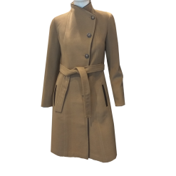 Παλτό με κουμπιά και δέσιμο στην μέση καμηλό