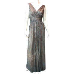 Maxi φόρεμα μεταλλιζέ κρουαζέ μονόχρωμο