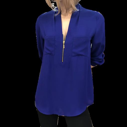 Μονόχρωμη μπλούζα με φερμουάρ
