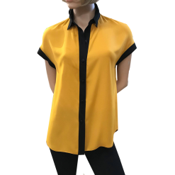 Two-tone shirt with short sleeves
