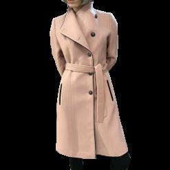 Παλτό με κουμπιά και δέσιμο στην μέση ροζ