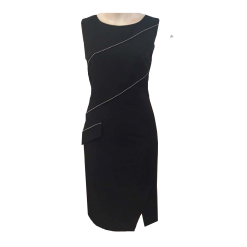 Short black dress with metallic elements
