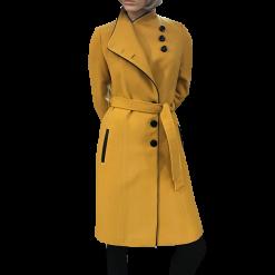Παλτό με κουμπιά και δέσιμο στην μέση ώχρα