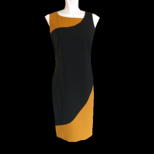 Δίχρωμο κοντό φόρεμα σε ίσια γραμμή