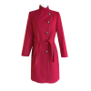 Παλτό με κουμπιά και δέσιμο στην μέση μπορντό