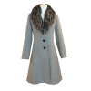 Coat with removable gray fur