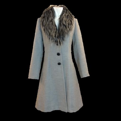 Παλτό εβαζέ με αφαιρούμενη γούνα γκρι
