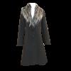 Παλτό εβαζέ με αφαιρούμενη γούνα μαύρο