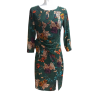 Short floral dress on straight line green