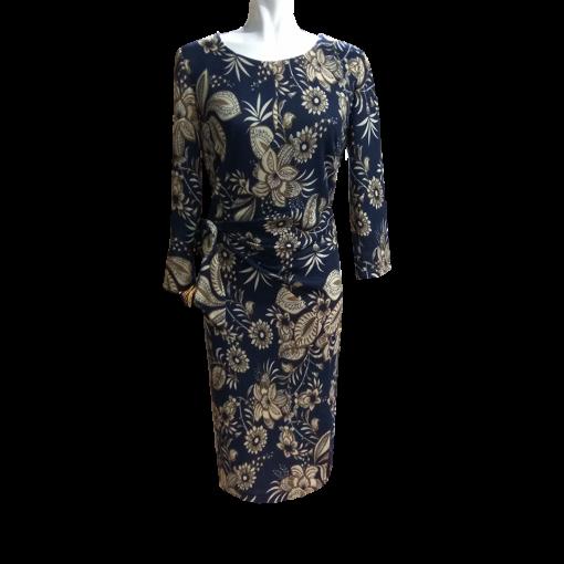 Κοντό floral φόρεμα σε ίσια γραμμή μπλε