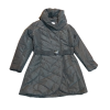Μακρύ μπουφάν με ζώνη και κουκούλα μαύρο