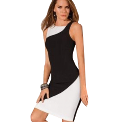 Black and white short straight line dress