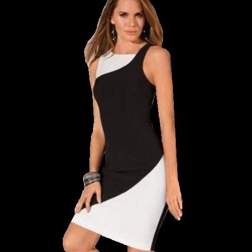 Ασπρόμαυρο κοντό φόρεμα σε ίσια γραμμή