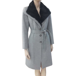 Coat with removable fur and gray belt
