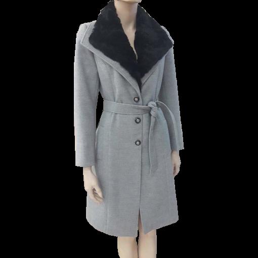 Παλτό με αφαιρούμενη γούνα και ζώνη γκρι
