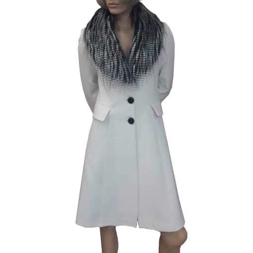 Παλτό εβαζέ με αφαιρούμενη γούνα λευκό