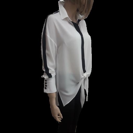 Δίχρωμο πουκάμισο με δέσιμο λευκό