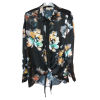 Floral πουκάμισο με δέσιμο μαύρο