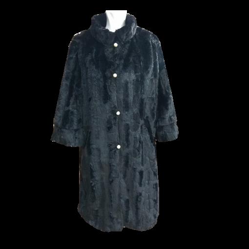 Μαύρο γούνινο παλτό με πέρλες
