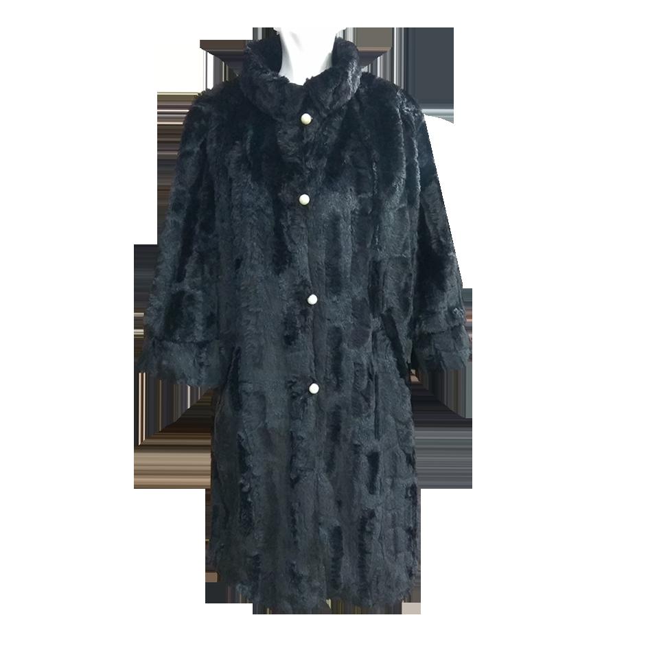 Μαύρο γούνινο παλτό με πέρλες  1d07cd71d8f
