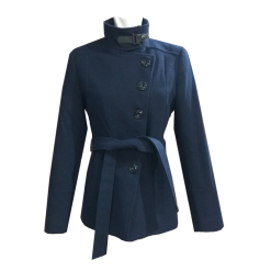 Short coat with oblique buttons and belt blue