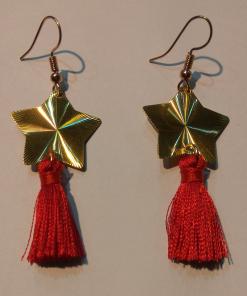 Κοντά χρυσά σκουλαρίκια με μικρή φούντα