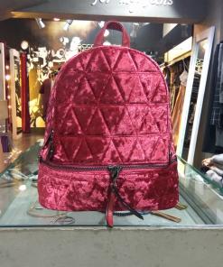 Velvet backpack with adjustable straps