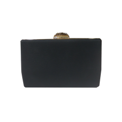 Black clutch bag with gold chain