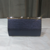 Blue clutch bag with gold chain