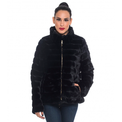 Ecological fur with zipper black