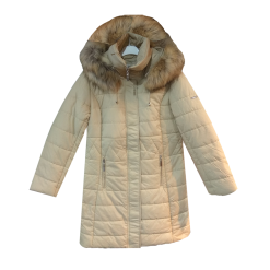 Μακρύ μεσάτο μπουφάν με γούνα στην κουκούλα