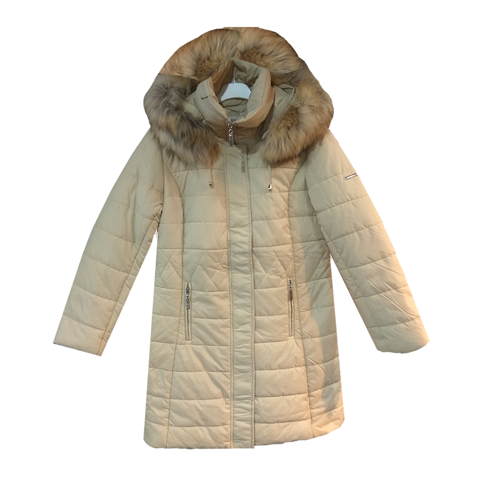 Μακρύ μεσάτο μπουφάν με γούνα στην κουκούλα  11a854e0ba6