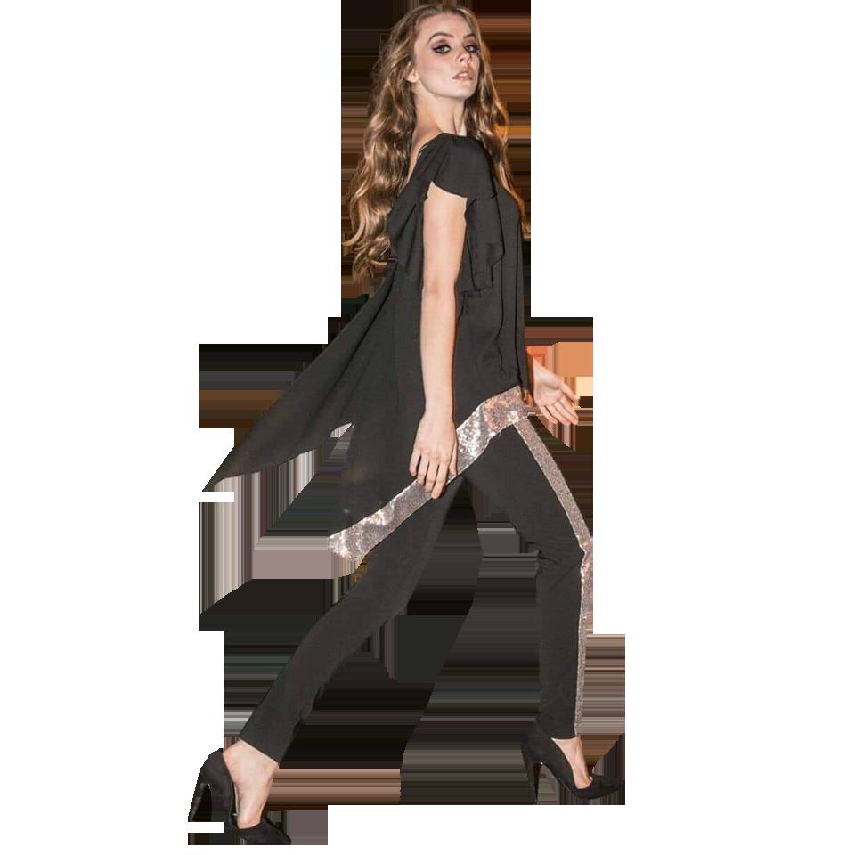 Γυναικείο παντελόνι με παγιέτα στο πλάι  8211d156304