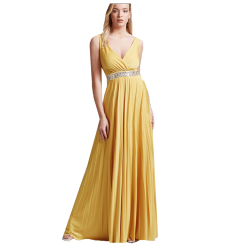 Maxi pleated dress with cruciferous bust
