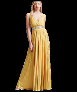 Maxi πλισέ φόρεμα με κρουαζέ μπούστο