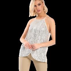 Γυναικεία δίχρωμη μπλούζα με παγιέτες