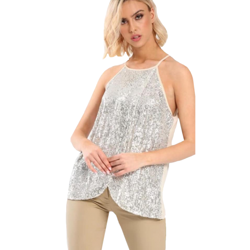 Women's two-color t-shirt with paillettes