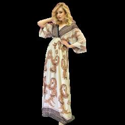 Maxi εμπριμέ φόρεμα με λάστιχο