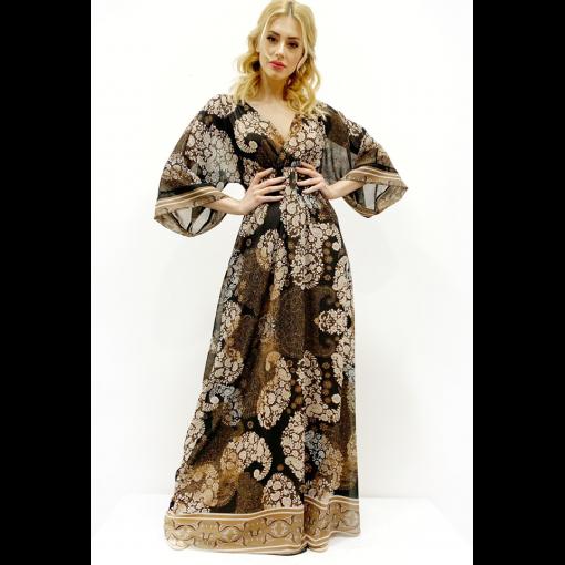 Maxi κρουαζέ φόρεμα με λάστιχο