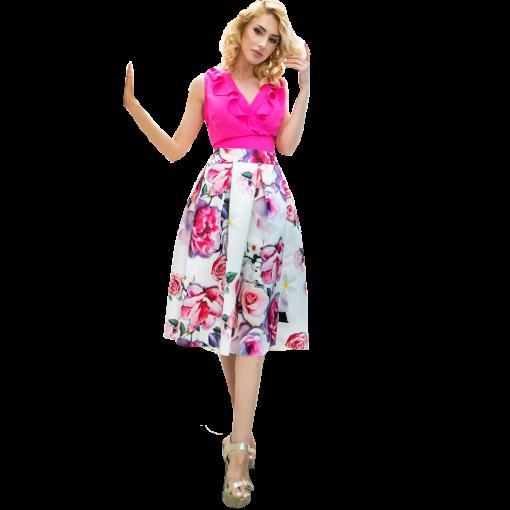 Κοντή floral φούστα σε σατέν ύφασμα