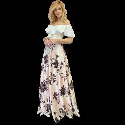 Maxi floral satin skirt