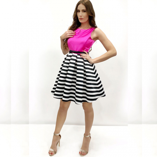 Short dress with striped skirt