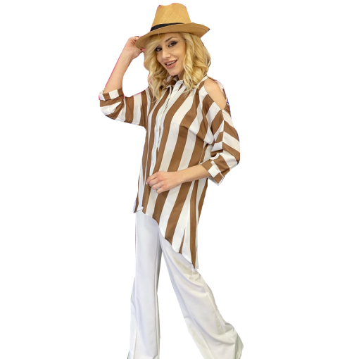 Striped shirt with shoulder opening