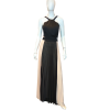 Maxi pleated dress with black bust