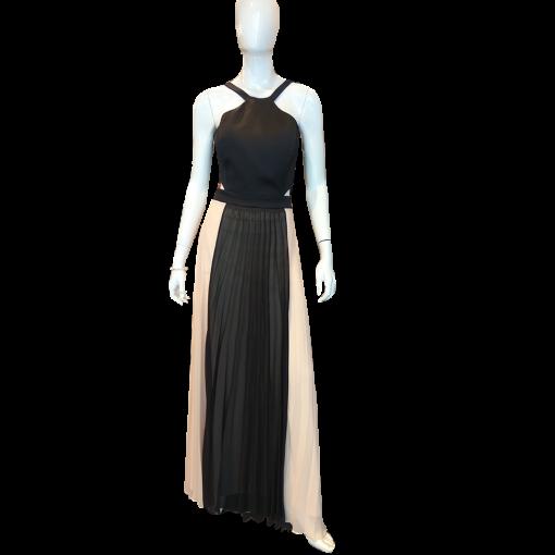 Maxi φόρεμα πλισέ με μαύρο μπούστο