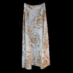Maxi floral φούστα σατεν χρυσή