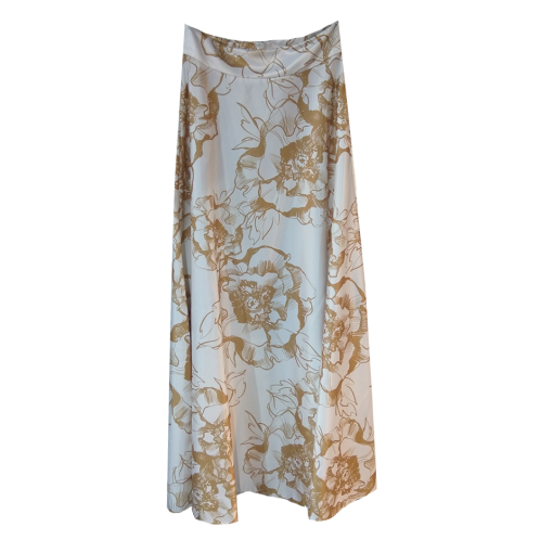 Maxi floral golden satin skirt