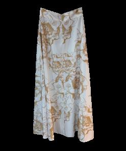 Maxi floral golden satin skirt